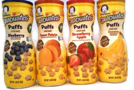 Gerber Graduates Apple Strawberry, Banana, Sweet Potato, Blueberry Puffs - 4 pk