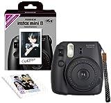 FUJIFILM インスタントカメラ チェキ instax mini 8 純正ハンドストラップ付き ブラック INS MINI 8 BLACK N