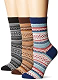 Flora&Fred Women's 3 Pair Pack Vintage Style Cotton Crew Socks