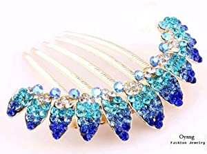 Free shipping-Oyang Beautiful Jewelry Blue Flowers Crystal Hair Clips - for hair clip Beauty Tools-Oyang
