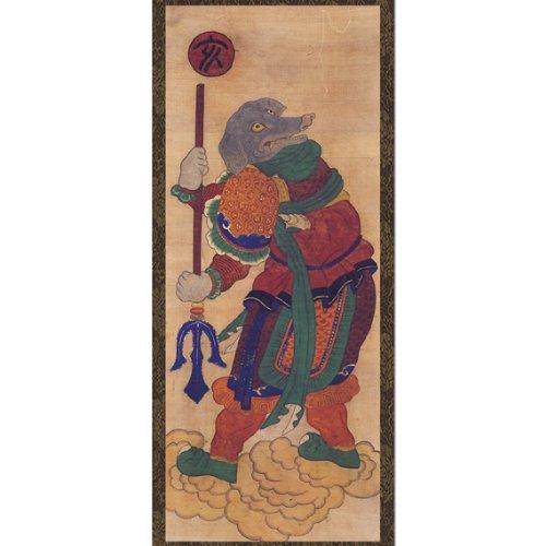 Porc du zodiaque chinois 12 animaux Guardian Dieu Décoration murale à suspendre faite main avec molette en vinyle Motif Folk Peinture Corée Asie