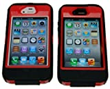 Body Armor Defender Case for iPhone 4/4S - Black and Red