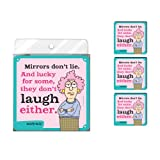Tree-Free Greetings NC37784 Aunty Acid 4-Pack Artful Coaster Set, Mirrors Don't Lie