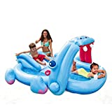 Intex Inflatable Hippo Water Play Center Kids Padding Wading Pool With Slide