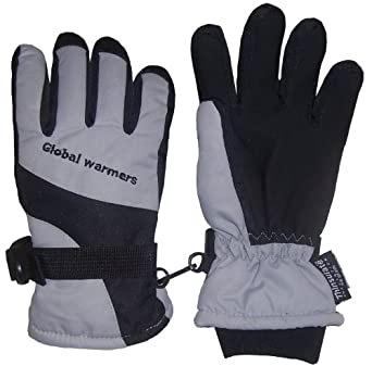 N'Ice Caps Adults Thinsulate and Waterproof Premier Colorblocked Ski Glove (Medium / Large, Black/Grey)