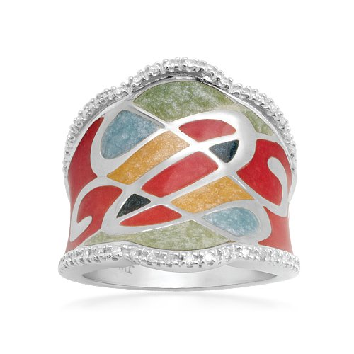 Sterling Silver Enamel Diamond Ring (1/10 cttw, I-J Color, I2-I3 Clarity), Size 6