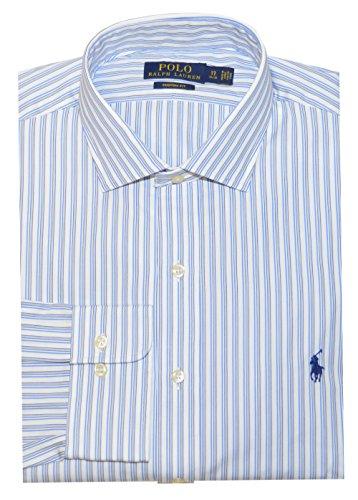 Polo Ralph Lauren Men Custom Fit Stripe Shirt (16(32-33), White/Blue/Black)