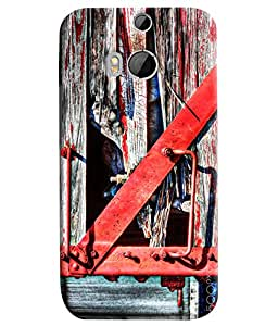 Blue Throat Red Handle Hard Plastic Printed Back Cover/Case For HTC One M8