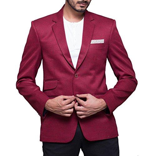 Azio Design Solid maroon Blazer For Men