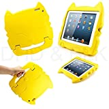 DELED Light Weight Shock Proof Super Protezione Bambini Sicurezza Cabrio Freestanding Maneggiare Regali Custodia Cover Tablet Buon Natale Custodie Kiddie divertenti per Apple iPad 2/3/4 - Giallo