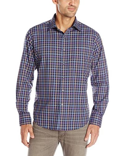 Alex Cannon Men's Long Sleeve Spread Collar Check Shirt