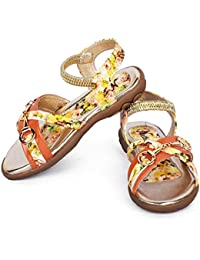 N'Lite Orange With Yellow Floral Print Toddler Baby Girl's Sandles