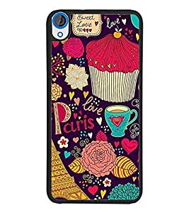 PrintDhaba Sweet Love D-1473 Back Case Cover for HTC DESIRE 820 (Multi-Coloured)