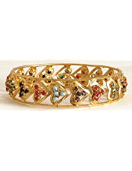 Gold Plated Heart Shaped Design With Stone Studded Bangle Bracelet - Stone And Metal