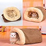 Aursen® ペットベッド 犬用 猫用 ペットハウス 寝袋 トンネル型 ブラウン