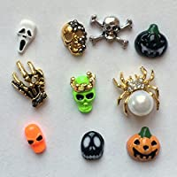 Winstonia Halloween Assorted Pieces 3D Alloy Nail-Art Decoration Bling Rhinestone Bead Decor - Skull, Spider, Ghost, Skeleton etc
