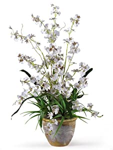 Nearly Natural 1005-WH Dancing Lady Silk Orchid Arrangement White