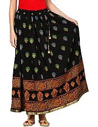 Saadgi Pure Cotton Gotta Patti Block Skirt