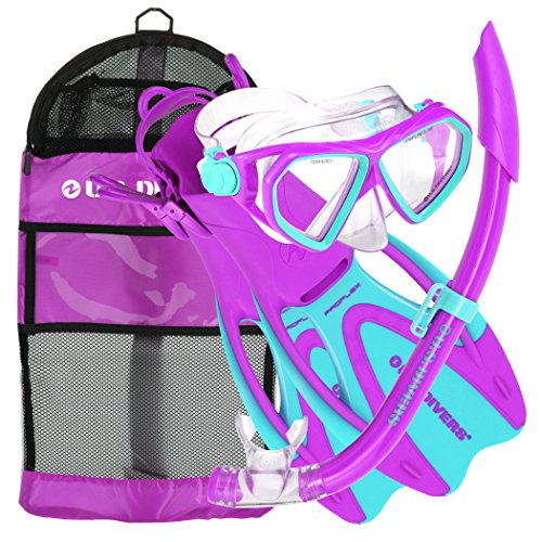 U.S. Divers Dorado JR Mask Fins Snorkel Set, Fun Purple,