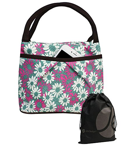 JAVOedge Green / Pink Double Pocket Daisy Pattern Lunch Bag Tote with Zipper, Pouch and Handle. Bonus Drawstring Bag - 1