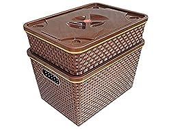 Plastic Storage Box, 15 Litres, 2 Piece Tray And Basket Set( multi colour) - SriSai Naturals