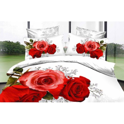 Details for White and Red Rose 3 - Reactive Printed 3d Bed Set 3d Bedding Set Linen Cotton Queen King Size/bedclothes Duvet Cover Red Black Rose Coverlet from Crystals Shop