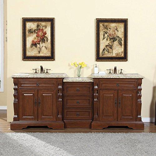 Silkroad Exclusive 90-inch Venetian Gold Granite Stone Top Bathroom Double Sink Modular Vanity (Bathroom Modular compare prices)
