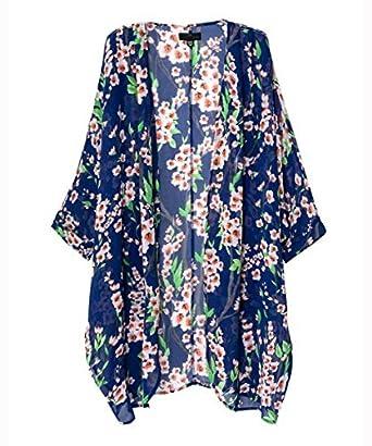 Vintage Women Floral Print Long Loose Kimono Cardigan Blouses Beach