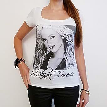 Shakira : T-shirt Femme photo de star - Blanc, S, t shirt femme,cadeau