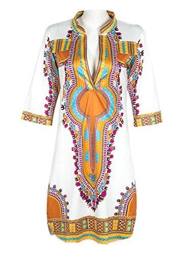 AOVCL Women Traditional African Print Dashiki Bodycon Stretch Dress