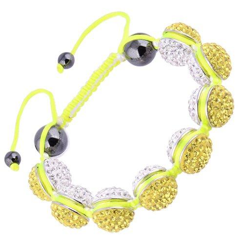 Kadima Alloy Shamballa Adjustable Bracelet,Unisex,14MMAlloy Round Beads With Gems-Citrine/White,And 12MMHematite