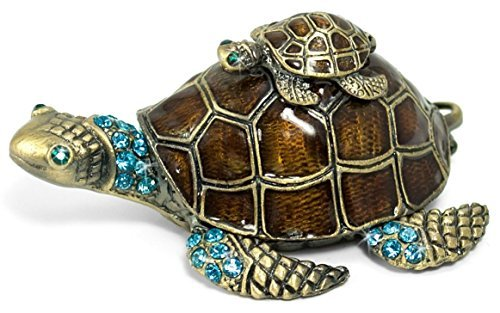 Turtle on Turtle Jewelry Box w/ Crystals