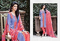 Ganga Fashions Light Blue Printed Cotton Silk Fabric Latest Salwar Kameez GE-7006-Summer Sonnet