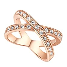 buy X Cross Designer Ring Band Micro Cubic Zircon Diamond Pave 18K Rose Gold Plated Jewelry (6)