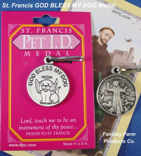 St. Francis Dog Collar Charm With Clip, Bless My Dog, With Colorful Prayer Card For Your Wallet front-960879