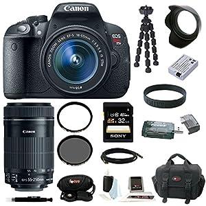 Canon EOS Rebel T5i with EF-S 18-55mm f/3.5-5.6 IS STM Zoom Lens and Canon EF-S 55-250mm f/4-5.6 IS STM plus 32GB Deluxe Accessory Kit