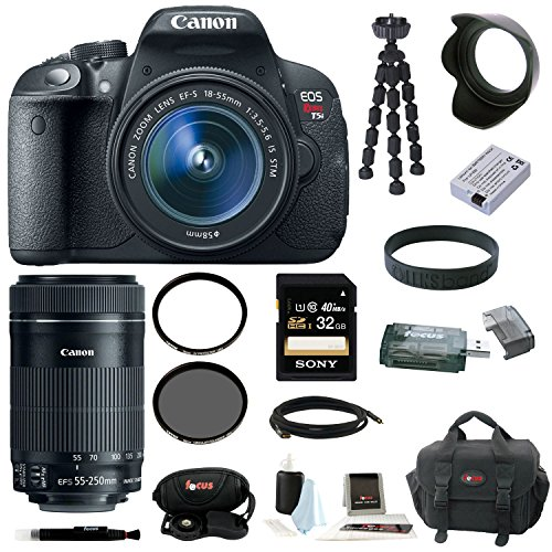 Canon EOS Rebel T5i with EF-S 18-55mm and EF-S 55-250mm Zoom Lens