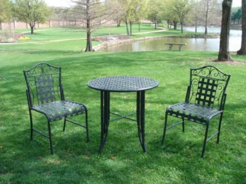Black friday MANDALAY 3 PIECE IRON BISTRO SET TABLE and 2 CHAIRS PATIO FU