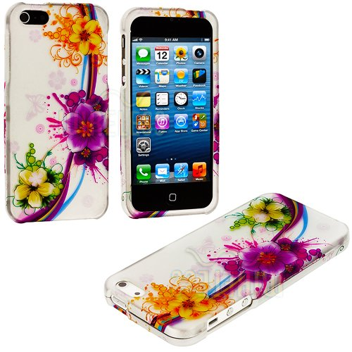 Mylife (Tm) Colorful Tropical Flower Chain Series (2 Piece Snap On) Hardshell Plates Case For The Iphone 5/5S (5G) 5Th Generation Touch Phone (Clip Fitted Front And Back Solid Cover Case + Rubberized Tough Armor Skin + Lifetime Warranty + Sealed Inside My