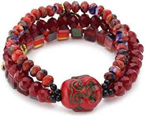 Sweet Deluxe Damen-Armband Buddha Ursule schwarz/rot 00796