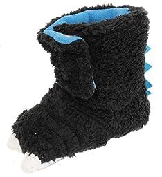Chatties Unisex Toddler\'s Monster Feet Velcro Slipper Shoes, Black, X-Large 11/12