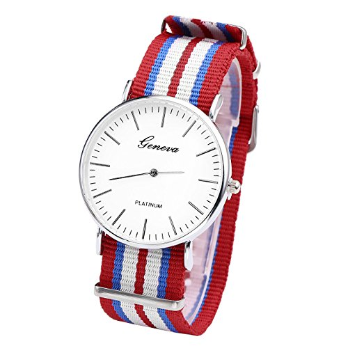 JSDDE Uhren,Genf Herren Damen Armbanduhr Nylon Textil Band Durchzugsband Analog Quarzhr Chronograph Uhr(7 Zeile Rot-Blau-Weiss)