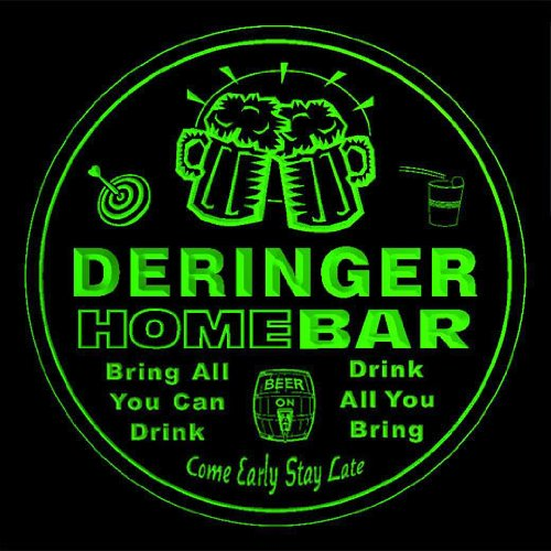 4X Ccq11091-G Deringer Family Name Home Bar Pub Beer Club Gift 3D Engraved Coasters