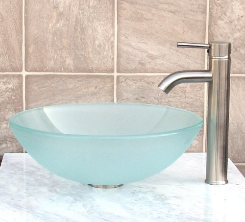 Bathroom Frosted Glass Vessel Sink & Brushed nickel Faucet Combo & brushed nickel Pop Up Drain Mounting Ring (R12FN3)
