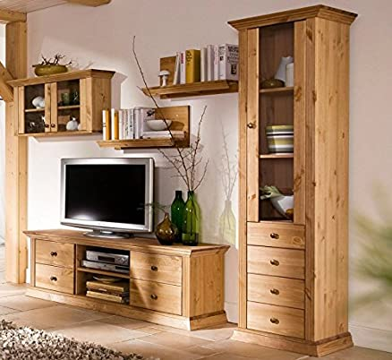 Parete attrezzata in legno di pino, oliato, congelatore
