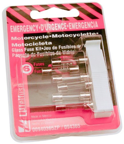Littelfuse 00940365Zp Motorcycle Emergency Glass Fuse Kit With 1 Puller, (Pack Of 6)
