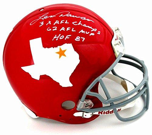 "Len Dawson Signed Dallas Texans Riddell Throwback Authentic NFL Helmet with ""3x AFL Champs - 62 AFL MVP - HOF 87"" Inscription"