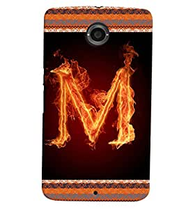 Fuson 3D Printed Alphabet M Designer back case cover for LG Google Nexus 6 - D4202