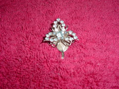Silvertone Leaf with Blue Rhinestones Pin