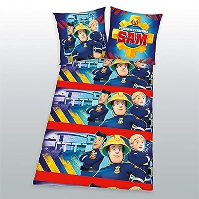 Herding Kinderbettwäsche Feuerwehrmann Sam, Flanell, rot/blau